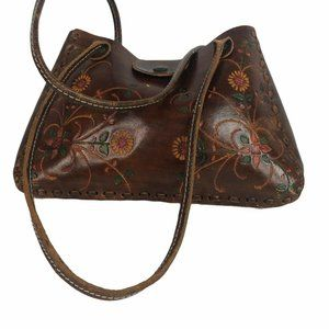 Wabags 100% Hand Tooled Brown Leather Hand Bag
